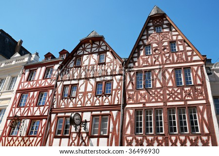 Half-timbered houses in the historical centre of Trier, the oldest city in Germany. This typical medieval houses were made of wooden frameworks (timbers).