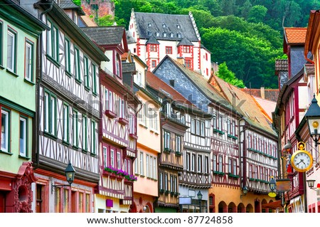 Half-timbered old houses in german town by Frankfurt