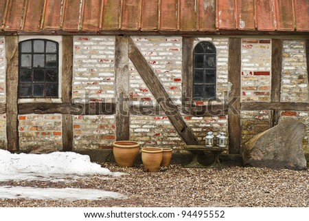 Half-timbered wall in an old farm building. Shot taken at winter time.