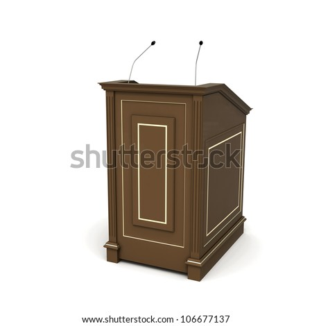 Half-turn view of brown wooden podium with microphones isolated on white with soft shadow