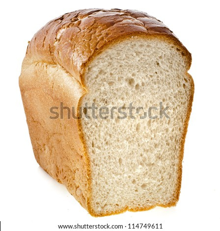 half wheat bread  isolated on a white background