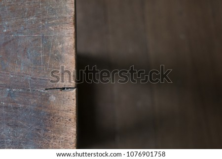 Half wooden table and wood floor from top view for background. #1076901758