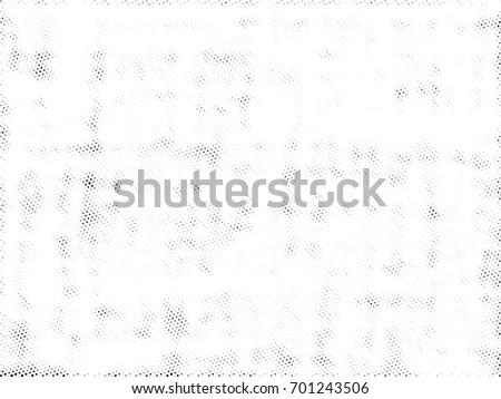 Halftone Background. Grunge Illustration With Ink Dots Texture Design Element. Abstract Image With Dirty, Dotted, Black Circles. Dark Round Particles Backdrop On A White Background. #701243506