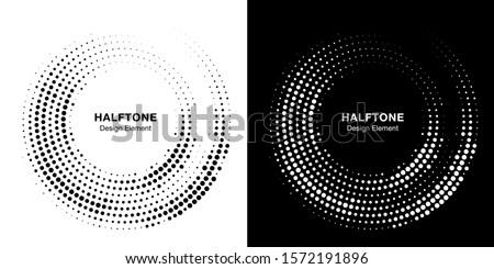 Halftone circle dotted frame circularly distributed. Raster dots logo emblem design set. Round border Icon using random halftone circle dot raster texture. Half tone circular background pattern.