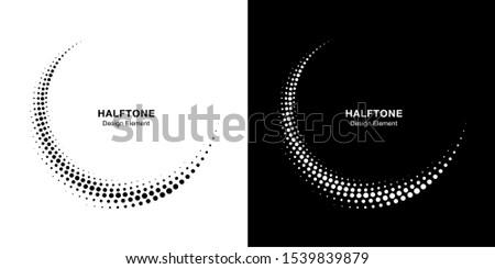 Halftone circle dotted frame circularly distributed set. Abstract dots logo emblem design element. Round border Icon using halftone circle dot texture. Half tone circular background pattern.