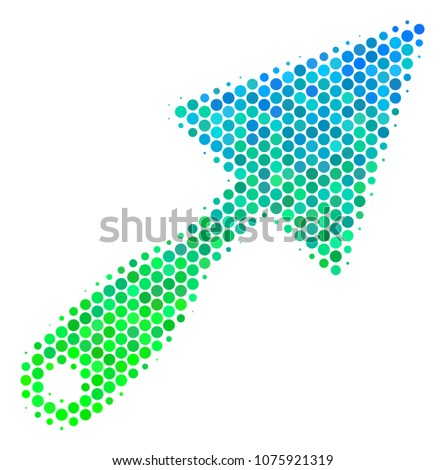 Halftone round spot Trowel icon. Icon in green and blue color hues on a white background. Raster concept of trowel icon constructed of spheric spots.