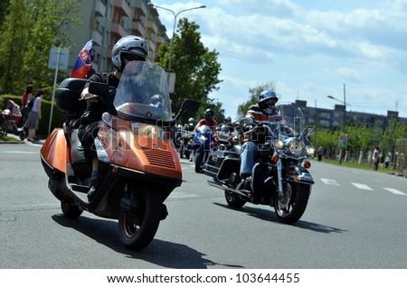 HALIC, SLOVAKIA - MAY 28: Unidentified bikers during the BIKE PARTY HALIC 2012 on May 28, 2012 in Halic, Slovakia - stock photo
