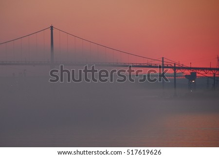 Halifax bridge with fog bank #517619626