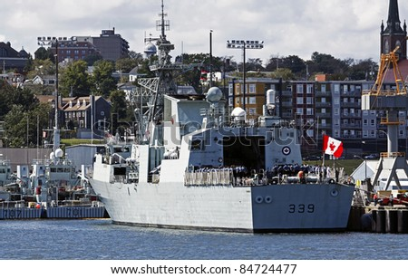 HALIFAX, CANADA - SEPTEMBER 2: HMCS Charlottetown in port September 2, 2011 in Halifax, Canada. The Canadian frigate and its crew of 240 members returned from deployment with a NATO force off Libya.