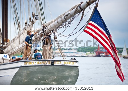 HALIFAX, NS - JULY 16: Sailing ships arrive to kick off Tall Ships Nova Scotia 2009 in Halifax, Nova Scotia, July 16, 2009. Pictured here is Spirit of Massachusetts from the United States. - stock photo