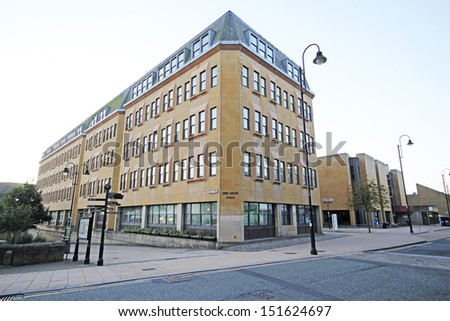 HALIFAX, UK - AUGUST 2013: Halifax council wants to sell its administrative headquarters and a neighbouring library in a bid to attract more shops to the town, 23 August, 2013.