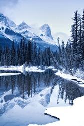 HaLing peak a mountain near Canmore, Alberta, Canada in winter