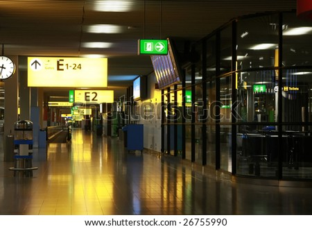 Hall at Amsterdam's Schiphol Airport - stock photo