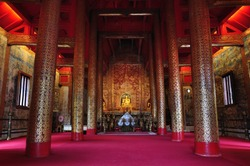 HALL Buddha statue interior An important and very old Wat Pha-singha Temple Chiangmai Thailand