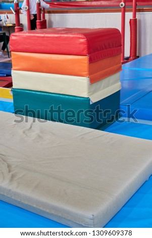 hall for gymnastics at school. multi-colored mats. doing sports. sports equipment. healthy lifestyle. sport competitions #1309609378