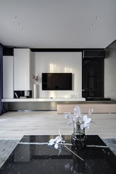 Hall in a modern style. There is a TV on the white wall, black niche with books, white rack with a flower in vase, TV remote, decorations, black fireplace with conditioner, marble table with flowers.