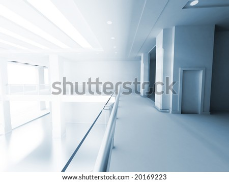 hall of a business building with columns and light from a window