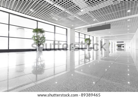 Hall of business building with light from window