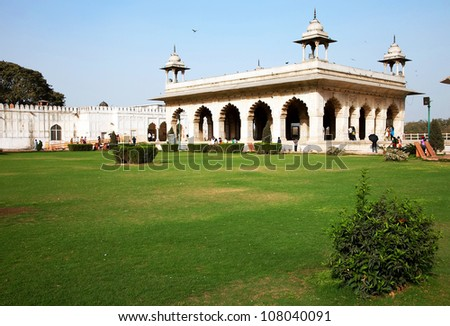 Hall of Private Audience or Diwan I Khas at the Lal Qila - Re d Fort in Delhi, India