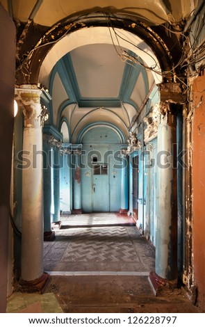 Hall of the ancient building. Odessa, Ukraine.