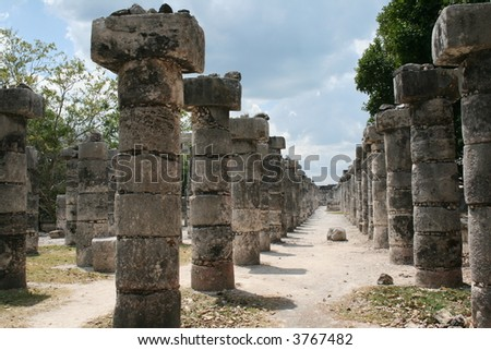 Hall of the Thousand Pillars - Columns at Chichen Itza, Mexico - stock photo