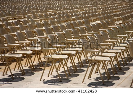 Hall open-air. Chairs stand in some numbers