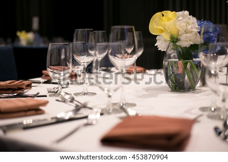 hall or other function facility set for fine dining, table in wedding day