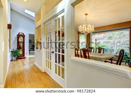 Hall way and dining room interior.