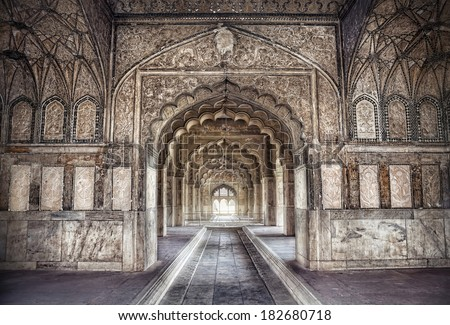 hall with ethnic ornament in...