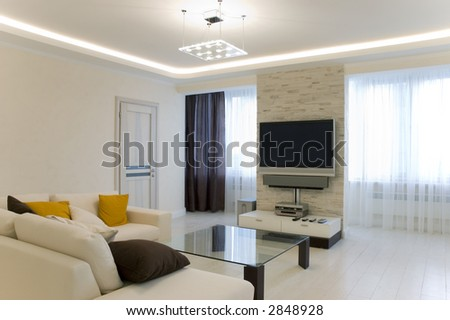 Hall with TV and sofa
