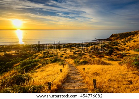 Hallett Cove Boardwalk at sunset, South Australia #454776082