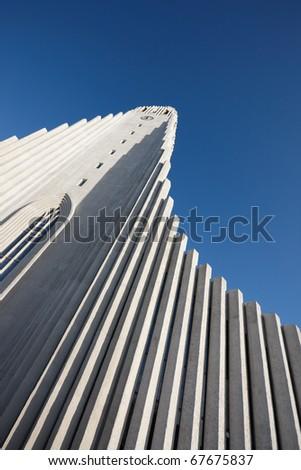 Hallgrimskirkja church in downtown Reykjavik with its columns based on basalt waterfalls.