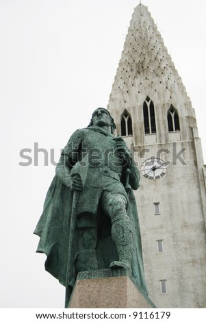 Hallgrimskirkja Church in Reykjavik Iceland with statue of Leif Eriksson claimed to have discovered the Americas before Columbus