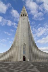 Hallgrimskirkja Church, Reykjavik,Iceland. The church architecture echoes the collumnar basalt formations common in Icelandic geology