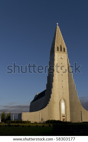 Hallgrimskirkja Church, Reykjavik,Iceland. The church architecture echoes the collumnar basalt formations common in Icelandic geology