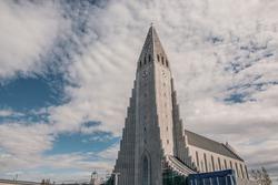 Hallgrimskirkja, the landmark cathedral in Reykjavik, Iceland.