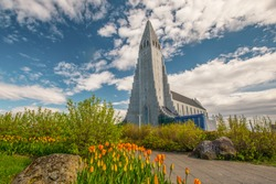Hallgrimskirkja, the landmark cathedral in Reykjavik, Iceland.