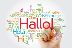 Hallo (Hello Greeting in German) word cloud in different languages of the world, background concept