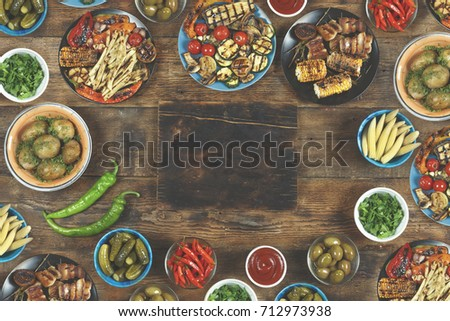 Halloumi cheese and vegetables fried on a plate with spices and herbs - healthy vegetarian vegetarian barbecue diet on grill vegetable home food #712973938