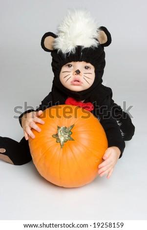 Halloween Baby with Pumpkin