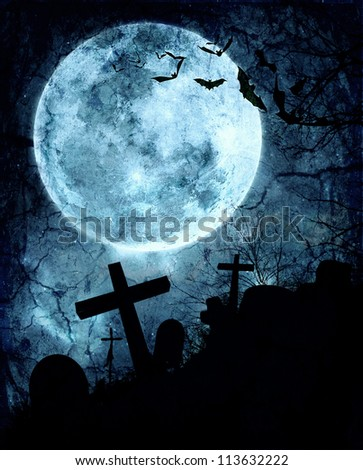 Halloween background. Bats flying in the night with a full moon in the background. #113632222