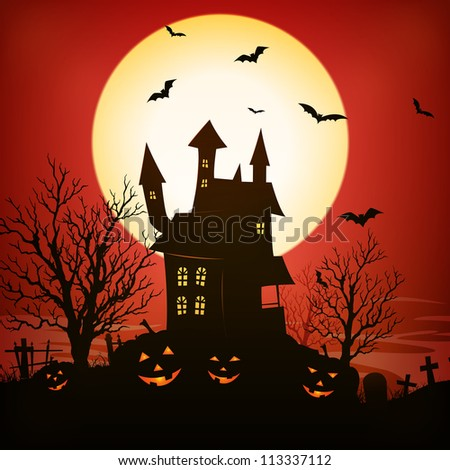 Halloween Background/ Illustration of a spooky haunted house inside red halloween holidays horror background