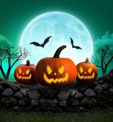 Halloween Background  , Scary Pumpkins in Forest , halloween concept