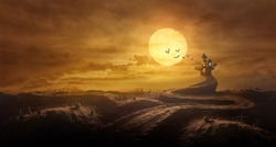 Halloween background through Stretched road grave to Castle spooky in night of full moon and bats flying.