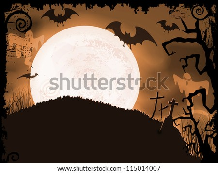 Halloween background with full moon, bats, ghosts, crosses and grunge elements.