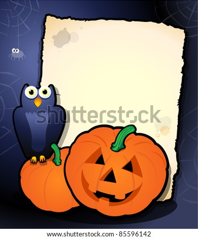 Halloween background with owl and pumpkins