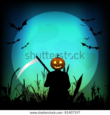 Halloween background with pumpkin reaper in the cornfield and full moon in the background