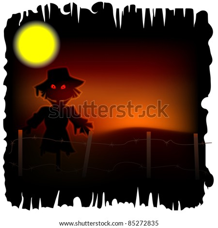 Halloween background with scarecrow with red eyes