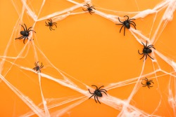 Halloween background with spider web and spiders as symbols of Halloween on the orange background. Happy Halloween concept. Frame