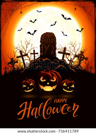Halloween background with tomb and pumpkins in the cemetery. Orange night with full Moon, illustration.